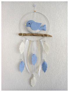 Mobile bébé Attrape-rêves Oiseau bleu feutrine Décoration