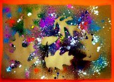 Splatter Painted Leaves: William4636's art on Artsonia  (positive/negative space)
