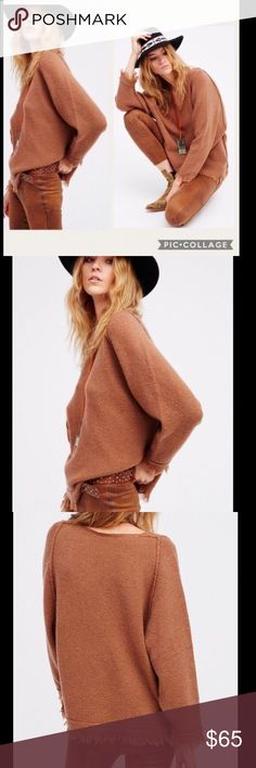 """NWT Free People Irresistible Brown Fringe Sweater 65% wool , 22% nylon , 11% linen , 2% spandex Hand wash cold Piping detail Fringed edges Oversized sweater. Size M Bust 48"""" Length 28"""" Size S Bust 46"""" Length 28"""" Free People Sweaters V-Necks"""