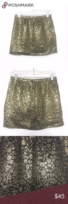 "J. Crew Collection Black and Gold Skirt Size 0 J. Crew Collection Black and Gold Skirt Size 0  Black and metallic gold skirt from J. Crew Collection. Fully lined. New with tags, never worn. A few gold threads are coming loose (pictured) but can be snipped off. Size 0. Retails for $128.  Fabric Content:  - 81% silk, 19% metallic - Lining: 100% acetate  Measurements (not doubled, approximate and taken with garment laid flat): - Waist: 14"" - Hips: 18.25"" - Hem width: 18.5"" - Total length: 14""…"