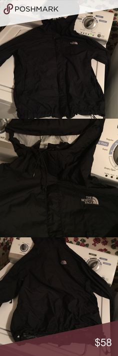 North face rain jacket shell North face rain jacket shell. Lining is coming off from washing it. Good condition otherwise! On back of hoodie small hole, from a straightener. Not noticeable. The North Face Jackets & Coats