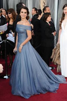 Love this dusky blue dress   via Wedding Magazine - Red carpet style