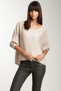 SHAE Draped Fit Scoop Neck Sweater