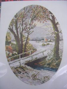 See Sally Sew-Patterns For Less - Winter Landscape by Moonlight Needlework Petit Point Kit