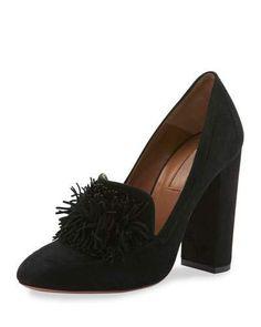 AQUAZZURA WILD SUEDE FRINGE LOAFER PUMP, BLACK. #aquazzura #shoes #flats