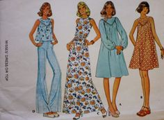 McCalls 4562 Yoked Dress or Top Sewing Pattern Bell Bottom Pants 1970s Bust 34 by BluetreeSewingStudio on Etsy