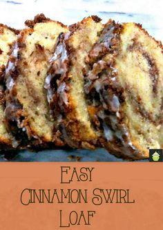 Fácil de canela Redemoinho Loaf A úmido, macio e maravilhoso degustação bolo de pão, perfeito com um café da manhã!
