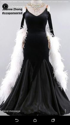 Chrisanne  black with white boa ballroom standard dance dress