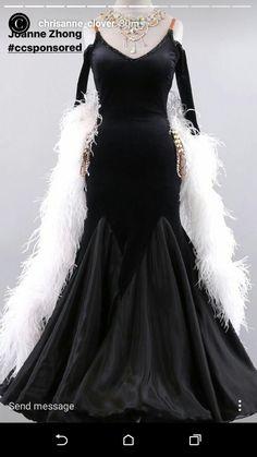 Chrisanne  black with white boa ballroom standard dance dress