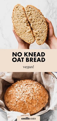 Make yourself a loaf of crusty No Knead Oat Bread for soups or to eat with butter! It's made with whole grain oats and simple ingredients. #homemadebread #breadrecipes Oats Recipes, Vegan Recipes Easy, Bread Recipes, Whole Food Recipes, Cooking Recipes, Vegan Meals, Recipies, Oat Bread Recipe, Vegan Bread