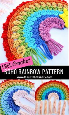 Free boho style crochet rainbow pattern in UK and US terms. Beautiful and unique crochet rainbow of hope for you to make and hang in your window. Free boho style crochet rainbow pattern in UK and US terms. Beautiful and unique… Crochet Home, Crochet Gifts, Cute Crochet, Easy Crochet, Beautiful Crochet, Diy Crafts Crochet, Crochet Owls, Kids Crochet, Crochet Animals