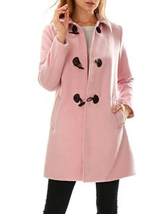 Allegra K Women's Turn Down Collar Slant Pockets Longline Toggle Coat S Pink Weekly Outfits, Curvy Outfits, Plus Size Outfits, Fashion Outfits, Pea Coats Women, Winter Coats Women, Pink Peacoat, Plus Size Fashion Tips, Duffle Coat