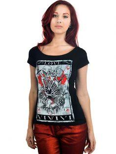 "Women's ""Skull Tarot"" Lola Tee by Too Fast (Black) #inkedshop #skulltarot #skeleton #romance #red #art #graphictee"