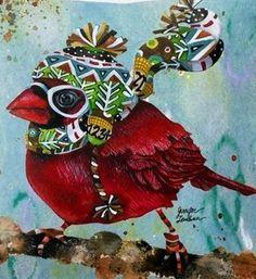 Winter cardinal illustration art by Jennifer Lambein via www.Facebook.com/JenniferLambeinStudioPetite