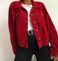 Red Jacket - The most beautiful dresses and seasonal outfits Look Fashion, 90s Fashion, Korean Fashion, Latest Fashion, Red Fashion Outfits, Womens Fashion, Jeans Fashion, Fashion Black, Grunge Fashion