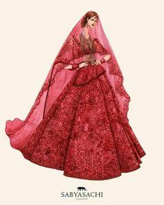 The Kanauj-Rose lehenga for Priyanka Chopra. Dress Design Sketches, Fashion Design Sketchbook, Fashion Design Portfolio, Fashion Design Drawings, Sketch Design, Indian Fashion, Fashion Art, Editorial Fashion, Fashion Models