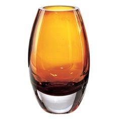 European Mouth Blown Radiant Amber Vase | 84K2092. Amber Crystal Radiant Vase