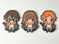 Harry Potter, Hermione Granger, Ron Weasley - Made with high-quality perler beads, bring your love of Harry Potter to pixelated life. Harry Potter Hermione, Art Harry Potter, Ron Weasley, Hermione Granger, Perler Bead Templates, Diy Perler Beads, Perler Bead Art, Hama Beads Design, Hama Beads Patterns