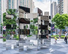 arnaud lapierre and UAP place immersive ring of mirrors in shanghai