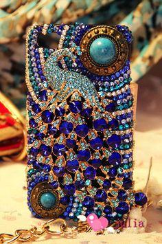 luxury peacock case bling bling case