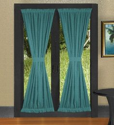 Light Silver French Door Curtains-Light Silver French Door Curtains consists of Two Panels with Velcro Gather Pair of 2 French Door Curtains for one price! French Door Curtains are made of easy care, lightweight polyester/cotton broadcloth. Wide Curtains, Green Curtains, Colorful Curtains, Panel Curtains, Curtains Living, French Doors Bedroom, French Doors Patio, Patio Doors, French Patio