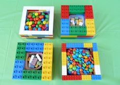 LEGO and DUPLO candy dishes. Lots of great party ideas in this blog post, like DIY LEGO goody bags (construction paper and paper bags). NOTE: I made one for the block candy I bought and people LOVED it--kids and adults. :) And of course super easy to make--I just washed the LEGOs with dish soap before building. Check out bullbore on eBay for lots of bricks--new and used--to build your dishes. (That's me!)