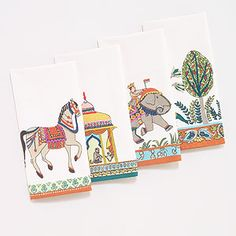 Voyage les Indiennes Embroidered Napkins, Set of 4