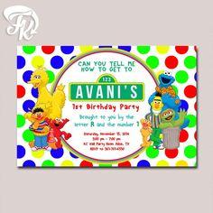 Sesame Street Polkadot Birthday Card Party Digital Invitation New Color