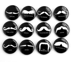 Mustaches Set of 12 Magnets