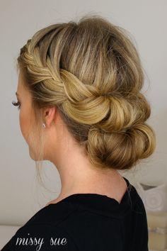 Easy updo. Tuck & cover tench braid half with a bun. Missy Sue