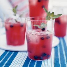 When watermelon is in abundance, this is a great way to use it.  Bobby Flay purees seedless watermelon chunks, then strains the juice through a sieve ...