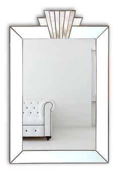 Vienna Royal Original Handcrafted Art Deco Wall Mirror with White Glass & Silver Trim – Bespoke Mirrors Art Deco Bathroom, Art Deco Mirror, Modern Bathroom Design, Bathroom Mirrors, Downstairs Bathroom, Master Bathroom, Bathroom Ideas, Bathrooms, Art Deco Fireplace