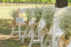 as rustic wedding is trendy now, why not decorate your aisles with sprays of baby's breath?