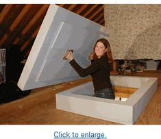 Better bought than built. A tight cap for pull-down attic stairs is hard to build. That's because both fixed and pull-down attic stairs present air-sealing and insulation challenges. This article explains the best options for insulating attic stairs. Attic Doors, Garage Attic, Attic House, Attic Playroom, D House, Attic Library, Attic Office, Attic Window, Attic Access Door