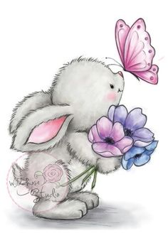 Wild Rose Studio - Bunny and Butterfly Stamp This adorable little bunny will warm your heart this spring! Stamp measures approximately: x 3 inches. Bunny Art, Cute Bunny, Cute Drawings, Animal Drawings, Easter Drawings, Cute Images, Cute Pictures, Lapin Art, Art Mignon