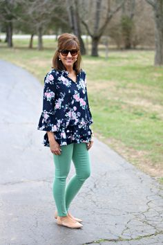 27 Days of Spring Fashion: Khaki Vest & Floral Top - Grace & Beauty