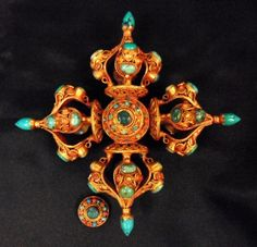 Double vajra - gilt silver, turquoise, emerald, coral 19th Century
