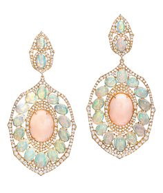 Cellini Jewelers Sutra Jewels Coral and Opal Drop Earrings  The particular combination of gemstones utilized in this gorgeous pair, exhibit a fresh display of color.   Composed of 14.80 carats of coral, 14.24 carats of opals, and 4.22 carats of diamonds, these earrings make for an elegant and gentle statement.
