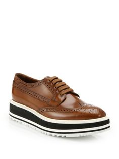 Prada - Platform Leather Wingtip Brogues
