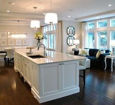 open concept kitchen with a giant island.