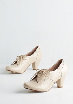 Swing Along Heel in Cream by Chelsea Crew - Mid, Tan, Solid, Work, Menswear Inspired, Vintage Inspired, 20s, Better, Lace Up, Variation