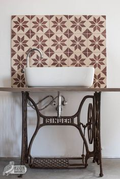 vintage-style sink with old cement tiles as a backdrop - Azure Owl downstairsba.vintage-style sink with old cement tiles as a backdrop - Azure Owl downstairsbathroom downstairs bathroom sinkAlpina Feine Farben No. Small Toilet, New Toilet, Lavabo Vintage, Rustic Bathroom Designs, Downstairs Toilet, Upstairs Bathrooms, Bathroom Wallpaper, Sewing Table, Bathroom Colors