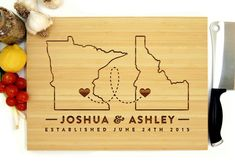Personalized Cutting Board 2 States With Hearts Wedding Gift Anniversary Gift Christmas Gift Map Monogram Cookware States Heart Engraved Cutting Board, Personalized Cutting Board, Cutting Boards, Diy Christmas Light Decorations, Christmas Diy, Heart Location, Ideas Hogar, Custom Wedding Gifts, Engagement Gifts