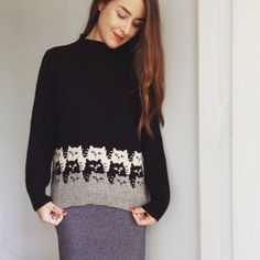 — knittingfornerds:   Beautiful Moggies sweater,...