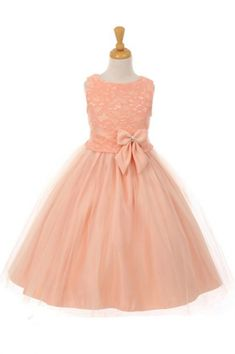 Girls Dress Style 6413- Sleeveless Lace and Tulle Dress in Choice of Color