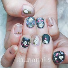 embroidery & jewelry art ❁ Round Nail Designs, Round Nails, Pedicure, Manicure Ideas, Embroidery Jewelry, Spring Nails, Nails Inspiration, Cute Nails, Jewelry Art