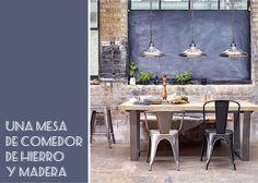 Mesa de comedor de madera y hierro. #mesa #comedor