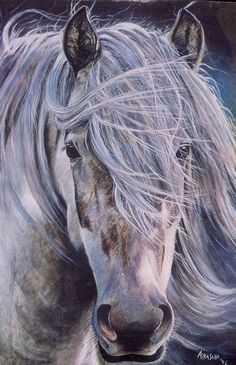 """PEINTURE AQUARELLE! """"PORTRAIT D'UN CHEVAL"""" ... Art par Cavalo Azul..."""