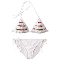 Xhilaration® Juniors 2-Piece Sequined Bikini Swimsuit with Ruffles - White/Gold