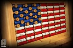 Shotgun Shell American Flag Decor Cedar Framed by FJCreations man cave for tex Shotgun Shell Art, Shotgun Shell Crafts, Shotgun Shells, Shotgun Shell Wreath, Shotgun Shell Jewelry, Ammo Crafts, Bullet Crafts, American Flag Decor, Diy Gifts For Him